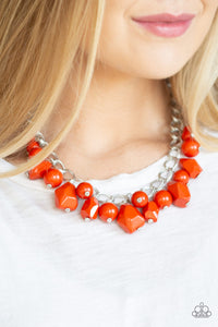 Gorgeously Globetrotter - Orange - Short Necklace