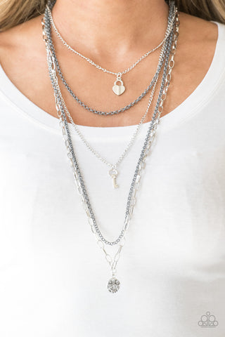 Right On Key - Silver - Long Layered Necklace