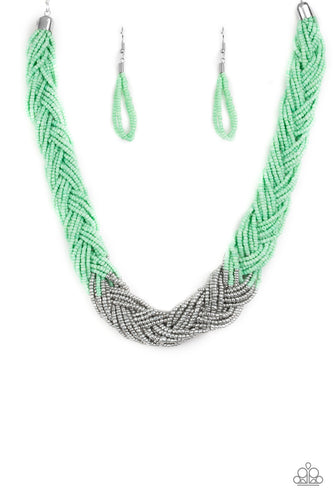 Brazilian Brilliance - Green and Silver - Braided Seed Beads