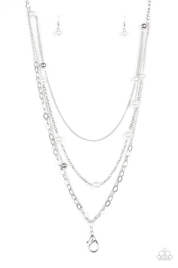 Glamour Grotto - White Lanyard - Long Necklace