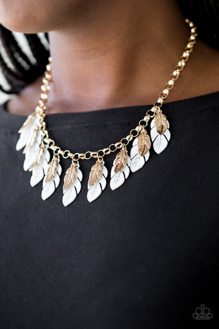 Rule The Roost - White/Gold - Short Necklace
