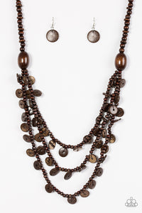 Safari Samba - Long Necklace - Brown Wood Beads