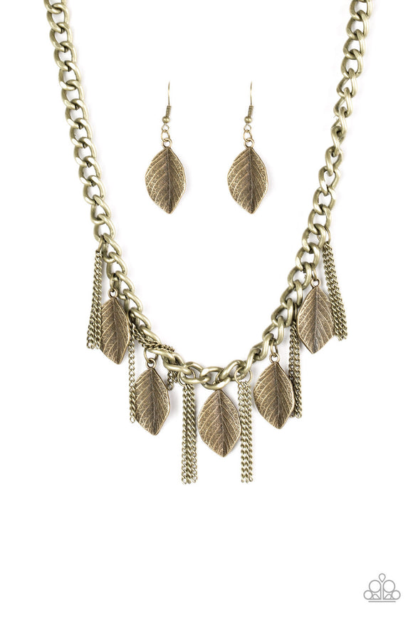 Serenely Sequoia - Brass - Short Necklace