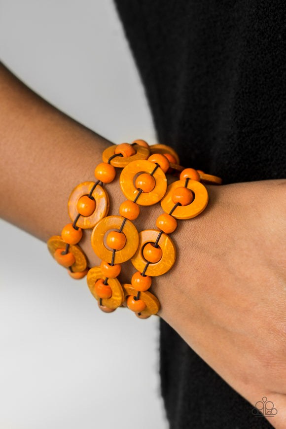 Cancun Catch - Orange - Stretch Bracelet