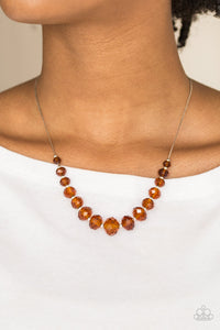 Crystal Carriages - Brown - Short Necklace