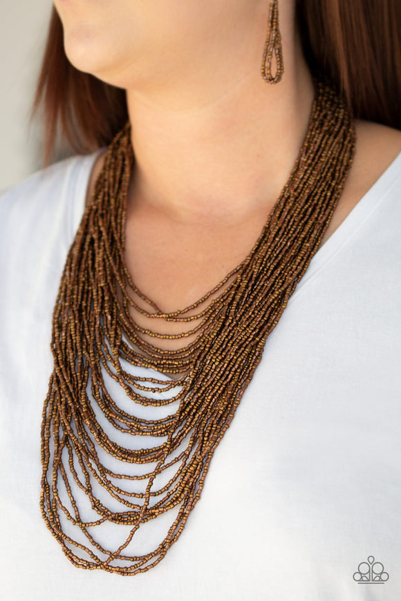 Dauntless Dazzle - Copper - Seed Bead Necklace