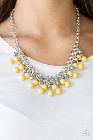 Friday Night Fringe - Yellow - Short Necklace