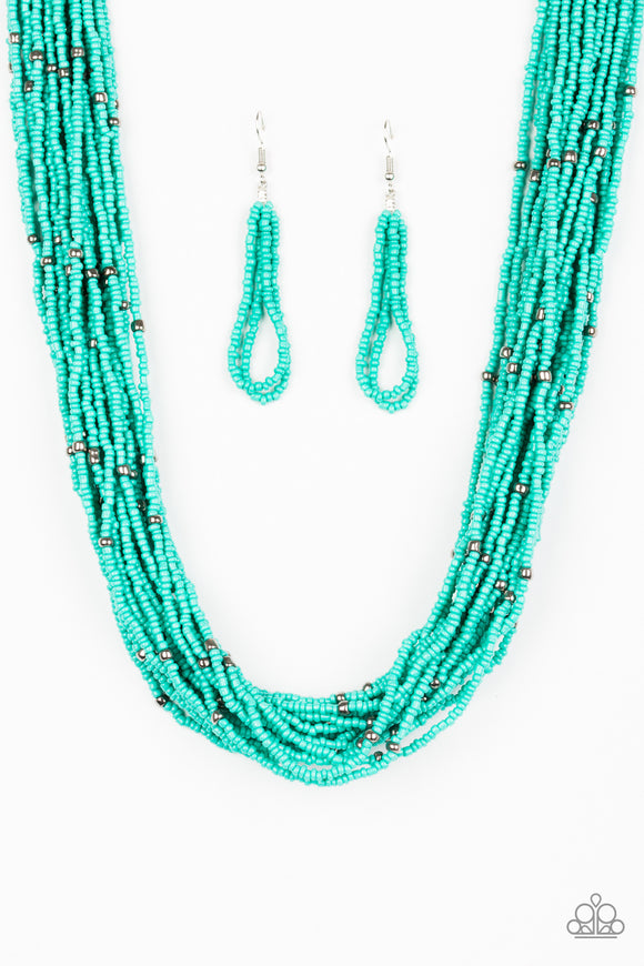 Summer Samba - Short Necklace - Turquoise Seed Beads