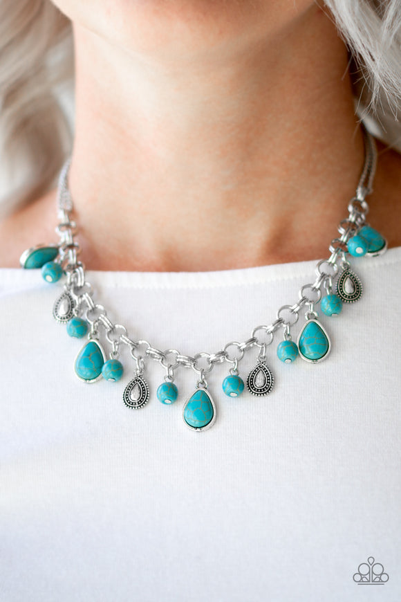 Welcome To Bedrock - Blue - Short Necklace
