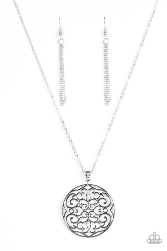 All About Me-dallion - Silver -  Long Necklace