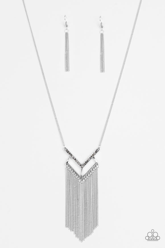 Alpha Glam - Silver - Long Necklace