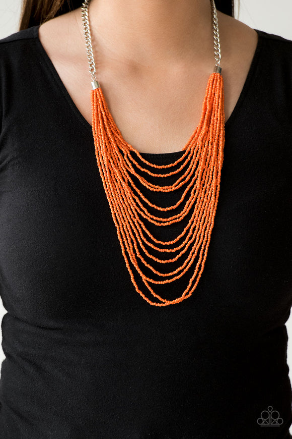 Bora Bombora - Orange - Seed Bead Necklace