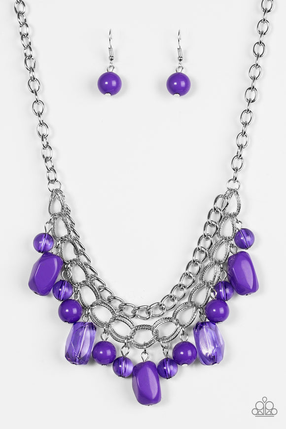 Brazilian Bay - Short Necklace - Purple