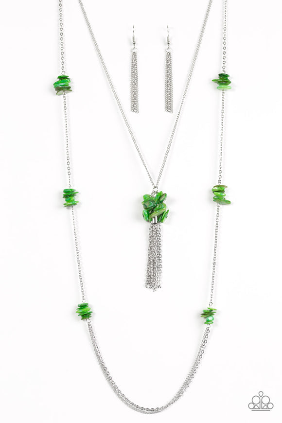 Cliff Cache - Long Necklace - Green