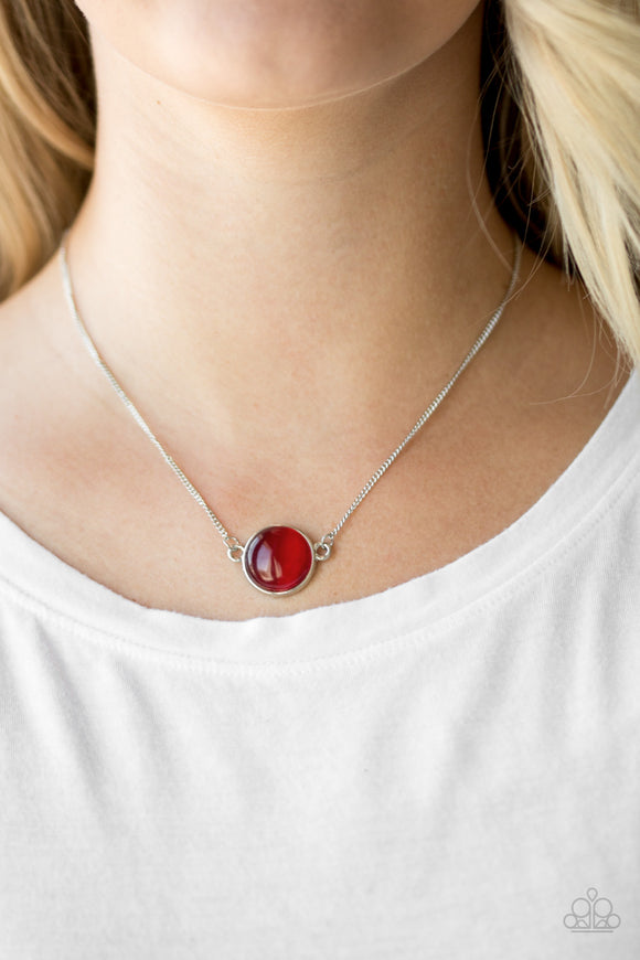 Rose-Colored Glasses - Red - Short Necklace