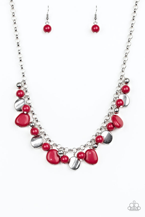 Flirtatiously Florida - Red - Short Necklace