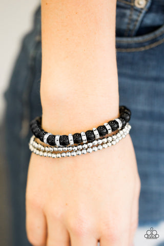 Perfectly POSH-ture - Black - Stretch Bracelet