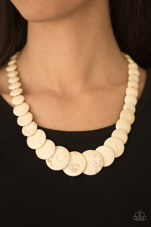 Sierra Mountains - White Crackle - Short Necklace