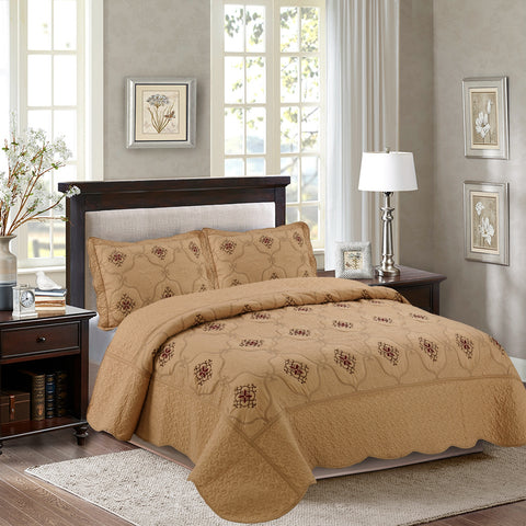 MarCielo 3-Piece Fully Quilted Embroidery Quilts Bedspreads Bed Coverlets Cover Set Emma