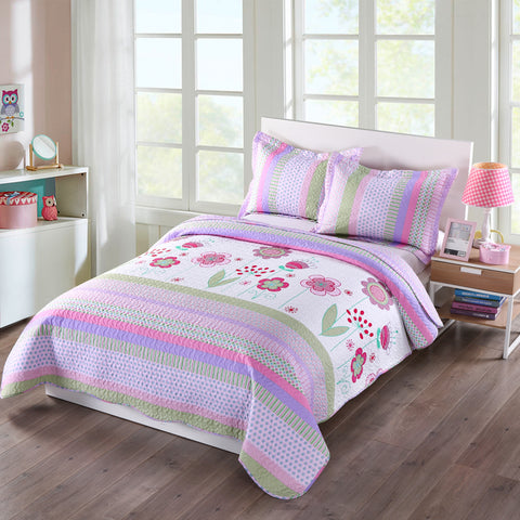 Blue Striped Full Full Size MarCielo 3 Piece Kids Bedspread Quilts Set Throw Blanket for Teens Boys Girls Bed Printed Bedding Coverlet ocean home fashion Full quilt blue striped