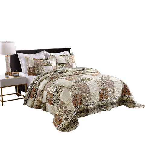 MarCielo 3 Piece Quilted Bedspread Leopard Print Quilt Set Bedding Throw Blanket Coverlet Animal Print Bedspread  Cheetah
