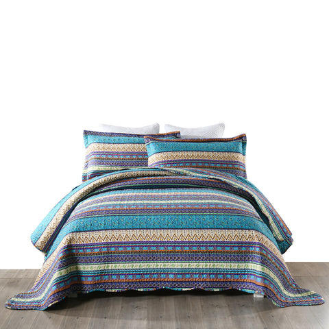 3 Pcs  Bohemian Boho Quilt Bedspread Set Rustic Cabin Lodge Christmas Quilt, BY011