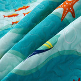 MarCielo 2/3 Piece Kids Bedspread Quilts Set Throw Blanket for Teens Boys Girls Bed  Coverlet Beach Style Sea Life 277 Fish Quilt
