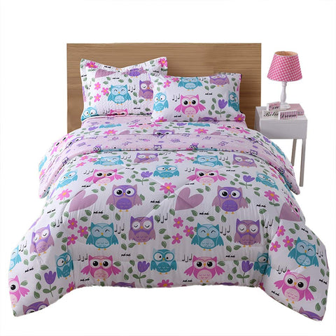 MarCielo Kids Comforter Set Girls Comforter Set Kids Bedding Set Include Sheet Set Bunk Beds for Kids Twin/Full, Owl