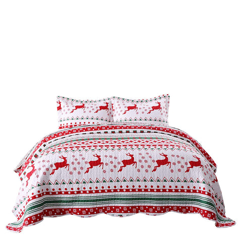 MarCielo 2/3 Pcs Christmas Quilt Set Bedspread Throw Blanket Snowflake