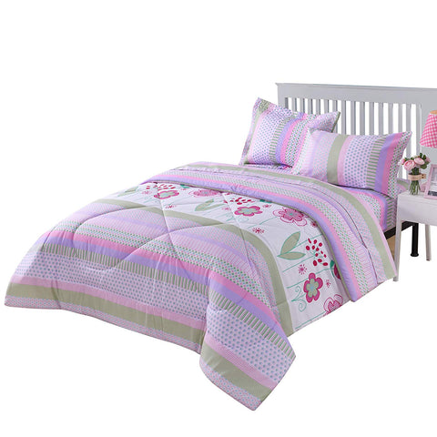 MarCielo Kids Comforter Set Girls Comforter Set Kids Bedding Set Include Sheet Set Bunk Beds for Kids Twin/Full, Purple Floral