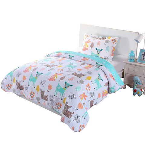 100% Cotton 2/3 Pcs Kids Quilt Bedspread Comforter Set for Teens Girls Teal Blue Forest Deer, XL1804