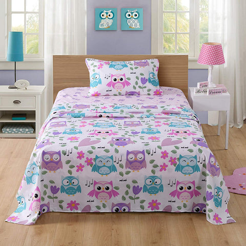 MarCielo Bed Sheets For Kids Twin Full Sheets For Kids Girls Boys Teens Children Sheets Bunk Beds Set Owl
