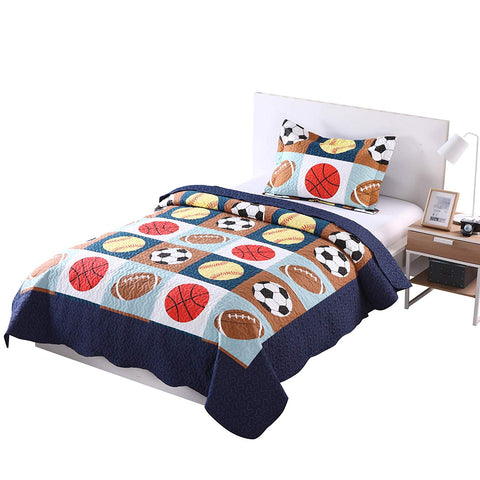 MarCielo 2/3 Piece Kids Bedspread Quilts Set for Teens Boys, Blue Basketball Football Sports American Football A13