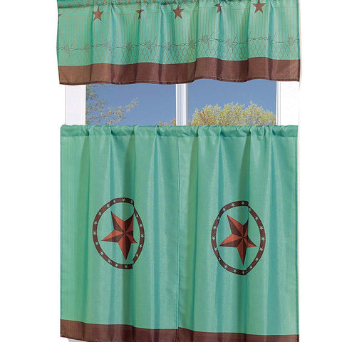 MarCielo 3 Piece Printed Western Texas Star Kitchen/Cafe Curtain With Swag and Tier Window Curtain Set