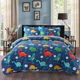 100% Cotton 3 Piece Kids Quilt Bedspread Comforter Set Throw Blanket for Teens Boys Girls Kids Beds Bedding Coverlet, Cartoon Dinosaur, KL1804 Quilt