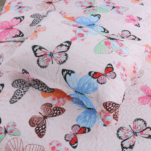 2/3 Piece Kids Bedspread Quilts Set for Teens Girls Bed Coverlet Bunk Girls Comforter Butterfly A72