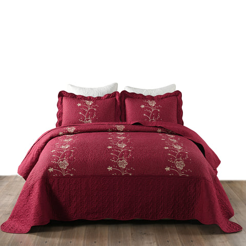 MarCielo 3 Piece Lightweight Bedspread Quilt Set Microfiber Quilt Embroidered Bedspreads Bed Coverlet Set, Lapaz