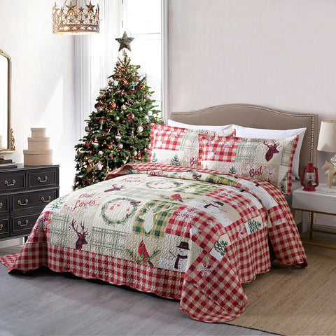 3 Pcs Rustic Lodge Deer Christmas Quilt Bedspread Set, Snowman Quilt By009