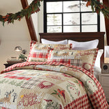 3 Pcs Christmas Quilt Bedspread Set Rustic Cabin Lodge Quilt, BY010