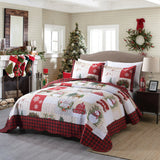 MarCielo 3 Piece Christmas Snowman Reversible Quilt Set, By013
