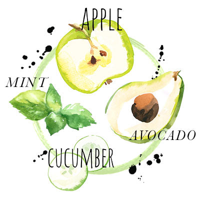 Apple, avocado, mint, cucumber