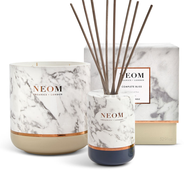 Complete Bliss Scented Candle (4 Wick) and Real Luxury Reed Diffuser Set (200ml)
