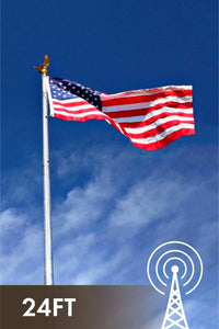24' DX Flagpole Antenna, Stealth HOA Vertical Antenna No Radials 80-6M