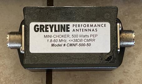 Greyline RF Choke, 500 Watt PEP, Mini Line Isolator, -35dB Common Mode Rejection 1-61 MHz