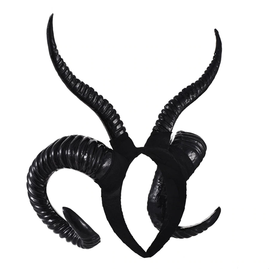 Blackmeoww Goth Men Women Cosplay Sheep Horn Hoop Headband - Black One Size