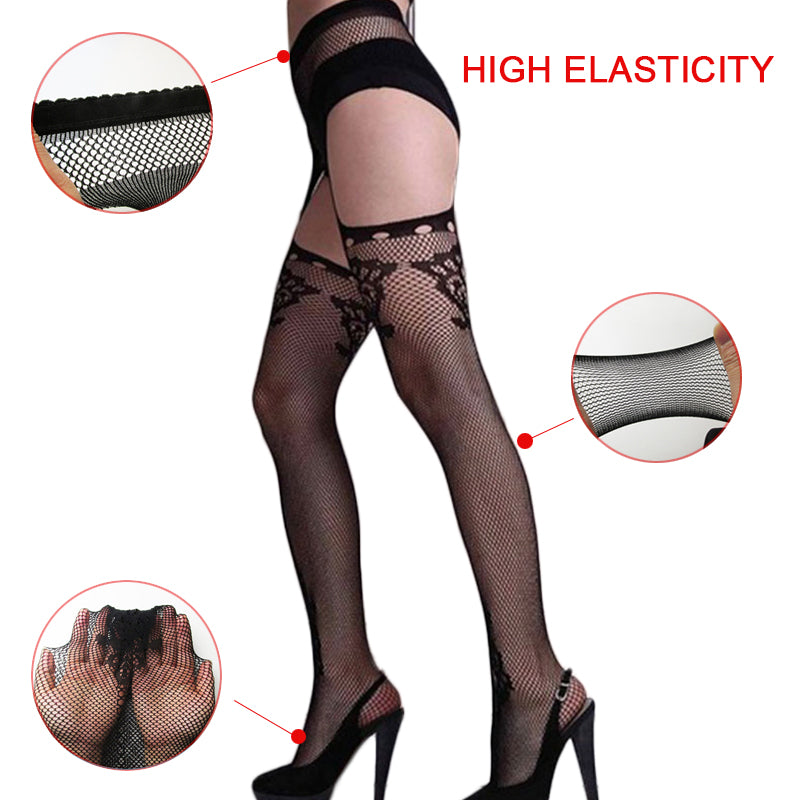 Blackmeoww Goth Women Harajuku Punk Addicted Nightwear Lace Sexy Lingerie Stripe Elastic Stockings - Black One Size