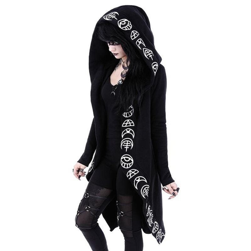 Blackmeoww Goth Women Rosatic Witch Print Hoodie Plus Size - Black S To 5XL