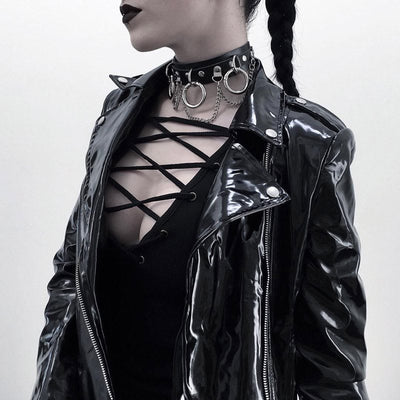Blackmeoww Goth Women Harajuku Metal Punk Witch Spell Leather Choker - Black One Size