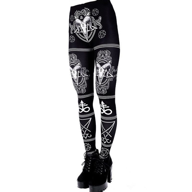 Blackmeoww Goth Women Satanic Fitness Print Leggings Plus Size - Black S To 5XL