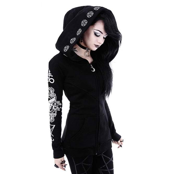Blackmeoww Goth Women Satanic Print Hoodie Sweatshirt Plus Size - Black S To 5XL